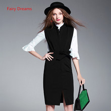 Fairy Dreams Two Piece Set Women Elegant Black Dress And White Shirt 2017 New Style Office Ladies Fashion Plus Size Work Clothes