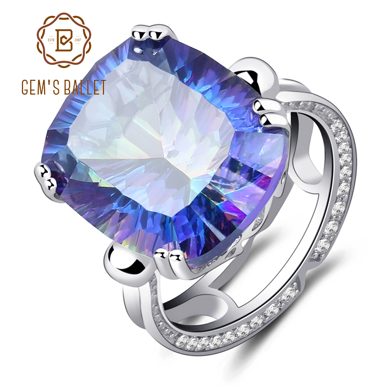 GEM'S BALLET 18.42Ct Natural Rainbow Fire Mystic Topaz Ring Cocktail For Women 925 Sterling Silver Vintage Fashion Jewelry