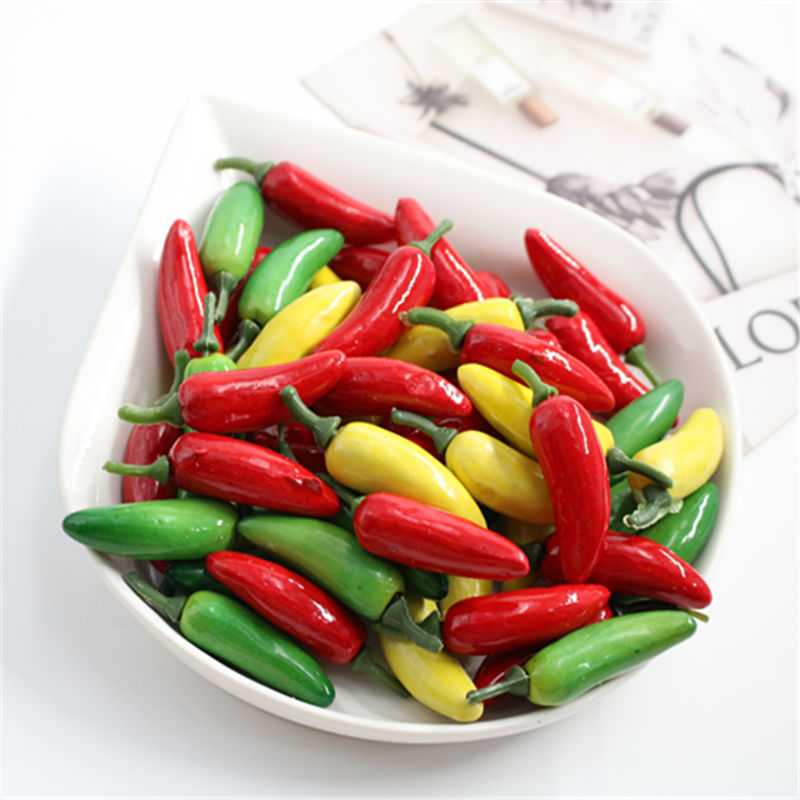 10 PCS Artificial Plastic Simulation Chili Pepper Plants Corsage Putting Fruit Vegetables For New Year's Home Decoration