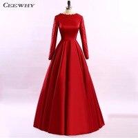 CEEWHY Satin Red Gown Evening Dress Long Sleeve Formal Dress Women Elegant Appliques Prom Evening Gown Sukienka Wieczorowa