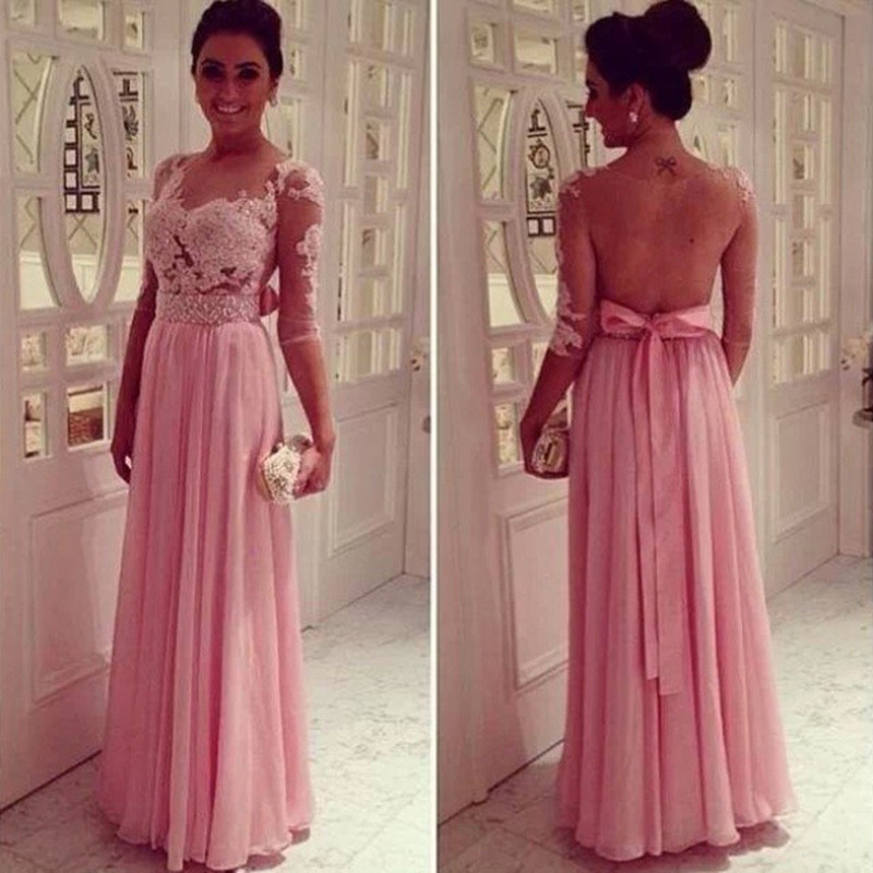 2017 Half Sleeve Long Chiffon Prom Dresses Sexy See Through Prom