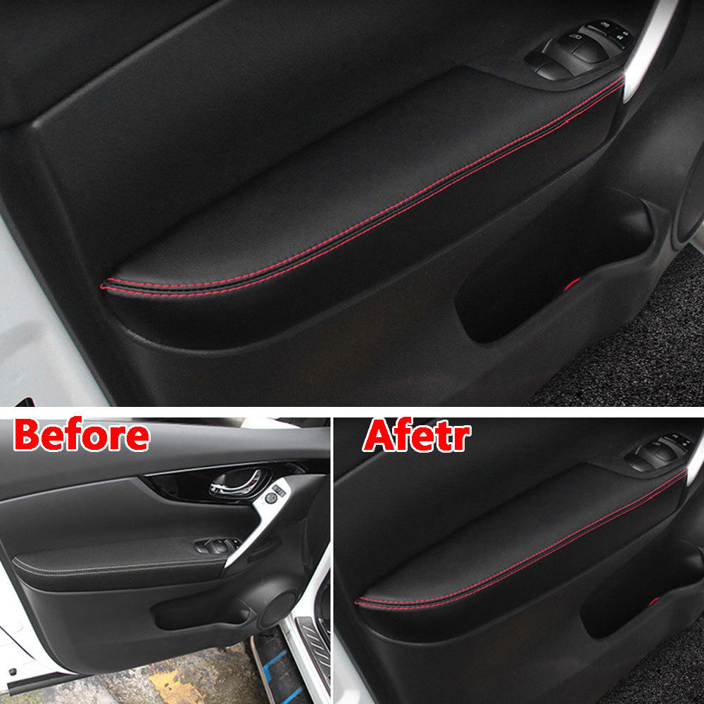 For Nissan Qashqai 2016 2017 Interior PU Door Armrest Surface Cover Trim Panel Guards Car