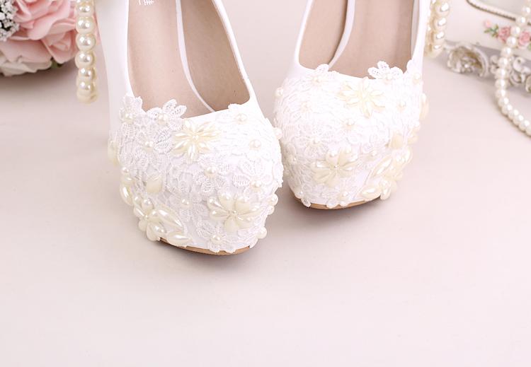 3_Women Dress Shoes For Wedding White Pearl Lace Flowers Bridal High Heel Platform Pumps 10cm 12cm 14cm Stilettos Footwear Online
