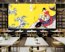 beibehang Custom fashion personality papel de parede 3d wallpaper retro hand-painted Japanese beauty sushi restaurant background