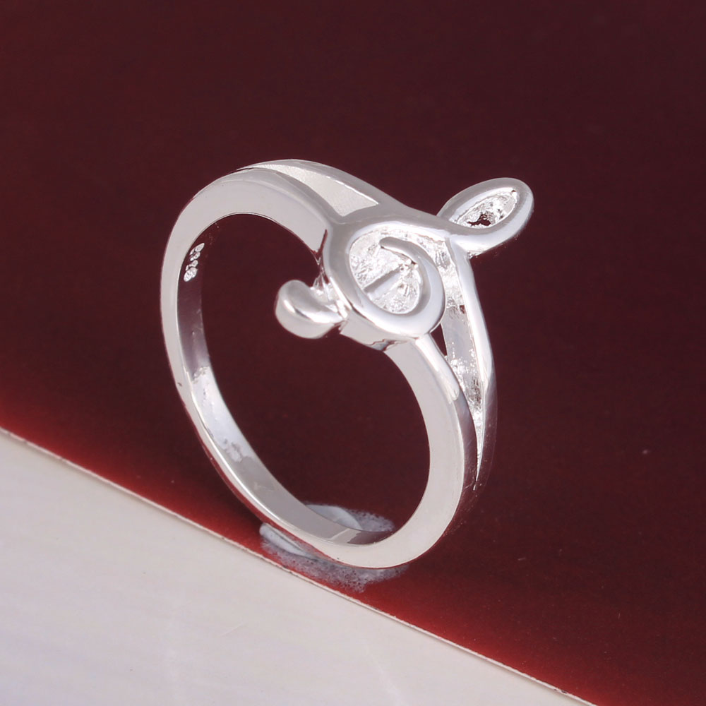 silver plated music ring jewelry factory large stock free shipping online shop women costume accessories finger rings wholesale