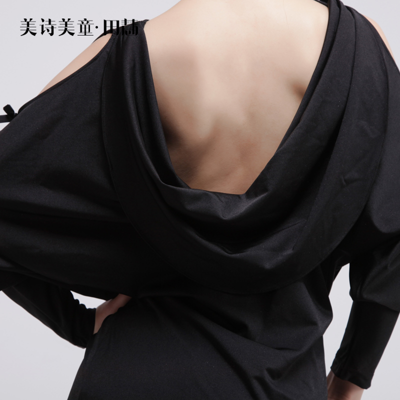 Sexy Deep V halter hollow sleeve bow tie Latin dance performance clothing dress women freeshipping hot sale