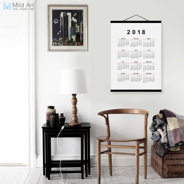 2018 Calendar Modern Chinese New Year Gifts Wooden Framed Canvas Painting Print Office Home Decor Wall Art Posters Scroll Hanger
