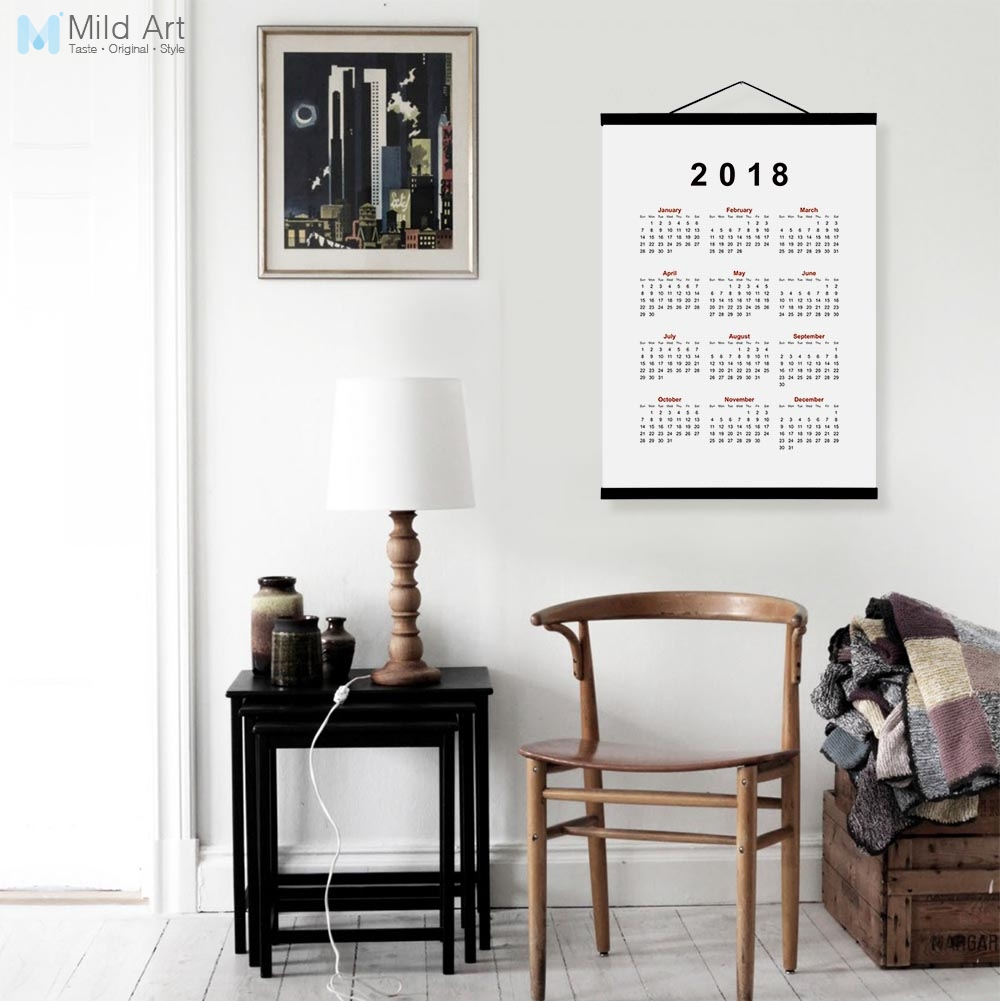 2018 Calendar Modern Chinese New Year Gifts Wooden Framed Canvas Painting Print Office H ...