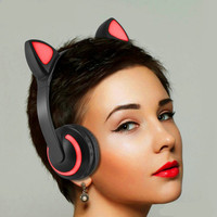 Foldable Bluetooth Cat Ear Headset LED Light Headphones Earphone Valentines Gift Fashion Cute Music Hand Free