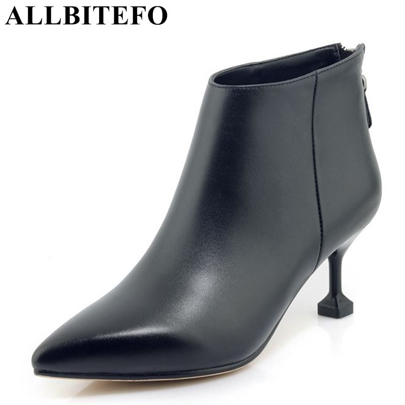 ALLBITEFO new arrive genuine leather pointed toe high heel winter boots high heel shoes women boots ladies shoes martin boots