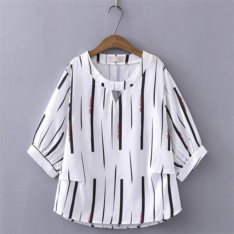 Plus Size Women Fashion Blouse Loose O-neck Stripe Shirts Half Sleeve Letter Printed Cute White Tops 7