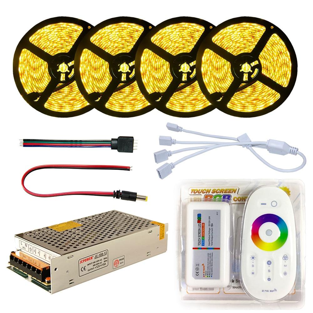 Набор светодиодных лент DC12V SMD 5050 RGB RGBW диодный Водонепроницаемый светодиодный Скотч + пульт дистанционного управления + блок питания гибкий светильник 20 м 5 м