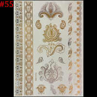 2015 New Hot Metalic Tatoos Gold Metallic Temporary Flash Tattoos Sex Products Henna Metal Bling Tatouage Body Paint Stickers