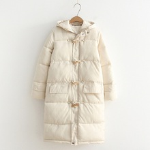 Winter Casual Parkas XL Plus Size Women Clothing Loose LONG Hooded horn button padding by hand Thick warm Padded Coat plus size hooded horn button coat