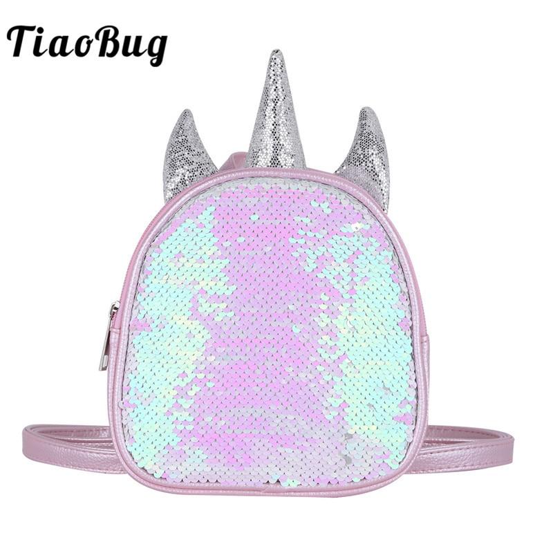 Tiaobug Cute Toddler Girls Dazzling Glittery Sequins Ballet Dance Bag Mini Backpack Child Kindergarten Satchel Little Daypack