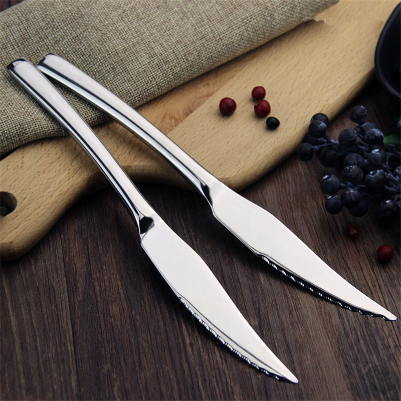 2pcs/lot Stainless Steel Dinnerware Steak Knife Western Pointed Head Food Knives Household Tableware Perfect Beef Meat Knife ...