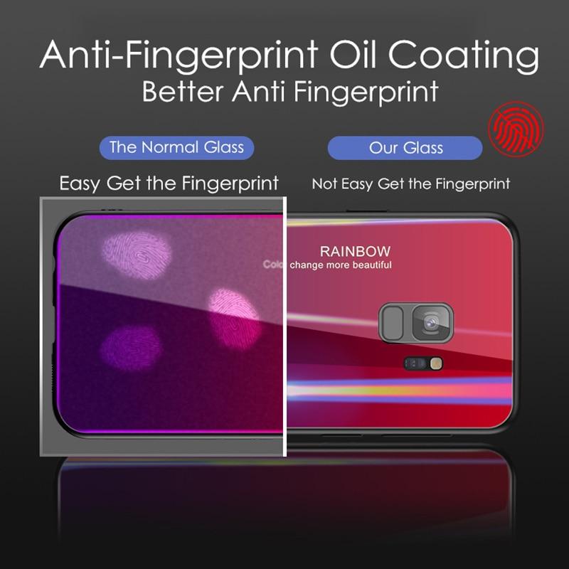 Samsung S9 Case S9 Plus rəngsiz 9H Temperli Şüşə Aurora Gradient - Cib telefonu aksesuarları və hissələri - Fotoqrafiya 4