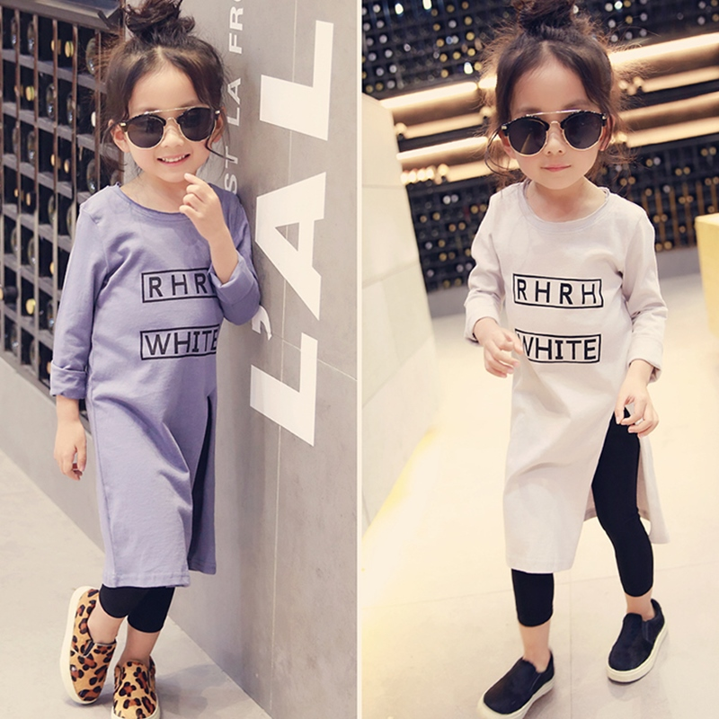 2018 Efterår mærke Baby Girls Shirt Børns Fashion Letter Shirt Lang Style High Open Fork Shirt Kids Basic Shirt, 2-7Y