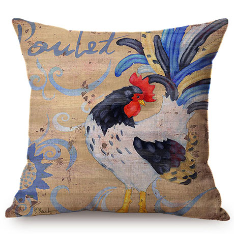 Colorful Cock Oil Painting Art Chicken Rooster Throw Pillow Cover Home Decorative Cotton Linen Sofa Cushion Cover Car Pillowcase M093-8