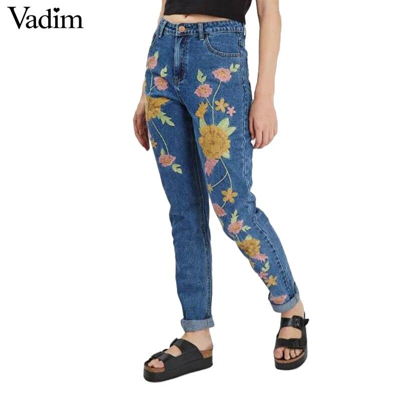 Women Vintage Flower Embroidery Denim Jeans Pockets Full