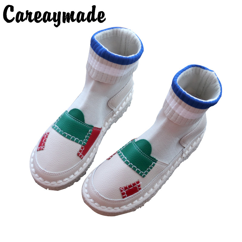 Careaymade-2018 new Martin boots female art student Korean Edition, thin boots, knitted medium elastic tube, female boots