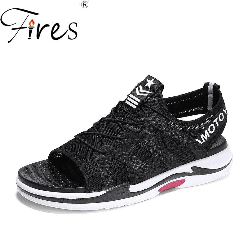 Fires Men Summer Sandals Mesh Breathable Flat Shoes Casual Slip-on Loafer Shoes Man Sandal Lightweight Comfortbale Leisure Shoes