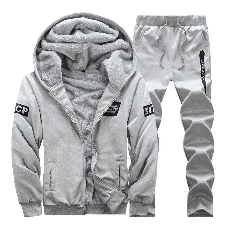 Winter warm sport suit men velour tracksuit set zip hoodie sweatshirt & sweatpants velvet track  suit joggers sporting sweatsuit