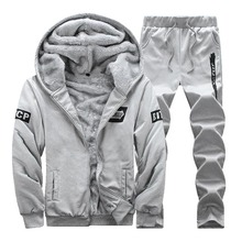 56257295 Зимний теплый спортивный костюм мужчин велюровый спортивный костюм комплект  толстовка на молнии с капюшоном и штаны