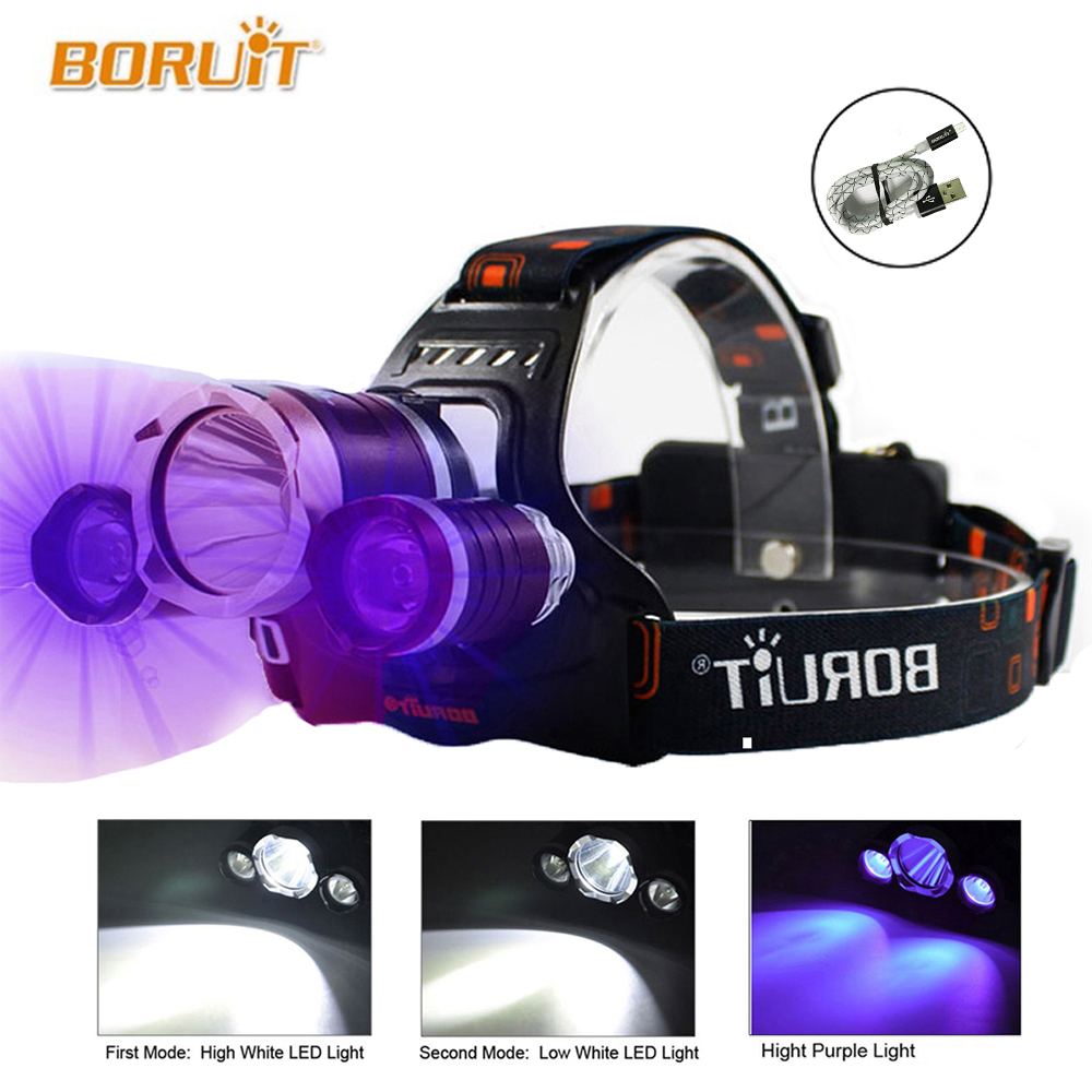 High Power UV Headlamp 5000 Lumen LED Cree XML T6 LED Fishing light 18650 Rechargeable USB Head Lamp Head Flashlight Torch scuba dive light