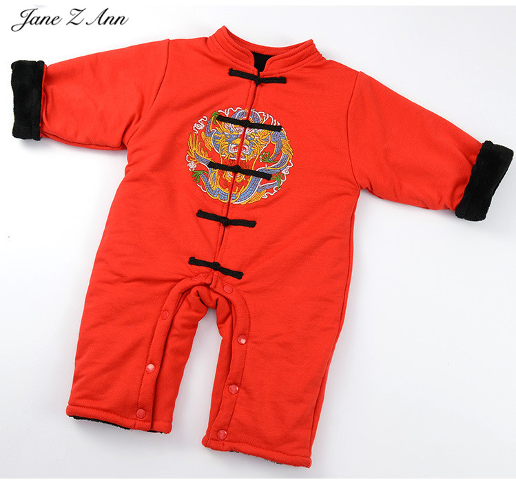 Jane Z Ann Winter baby romper infant toddler boys girls red Chinese traditional style warm jumpsuit Chinese new year clothes puseky 2017 infant romper baby boys girls jumpsuit newborn bebe clothing hooded toddler baby clothes cute panda romper costumes