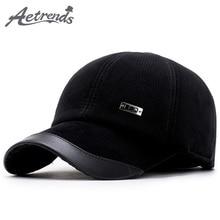 [AETRENDS] 2017 Winter Baseball Cap Men Keep Warm Dad Hat Thicken with Ear Flaps Bone Men's Snapback Caps Z-5890