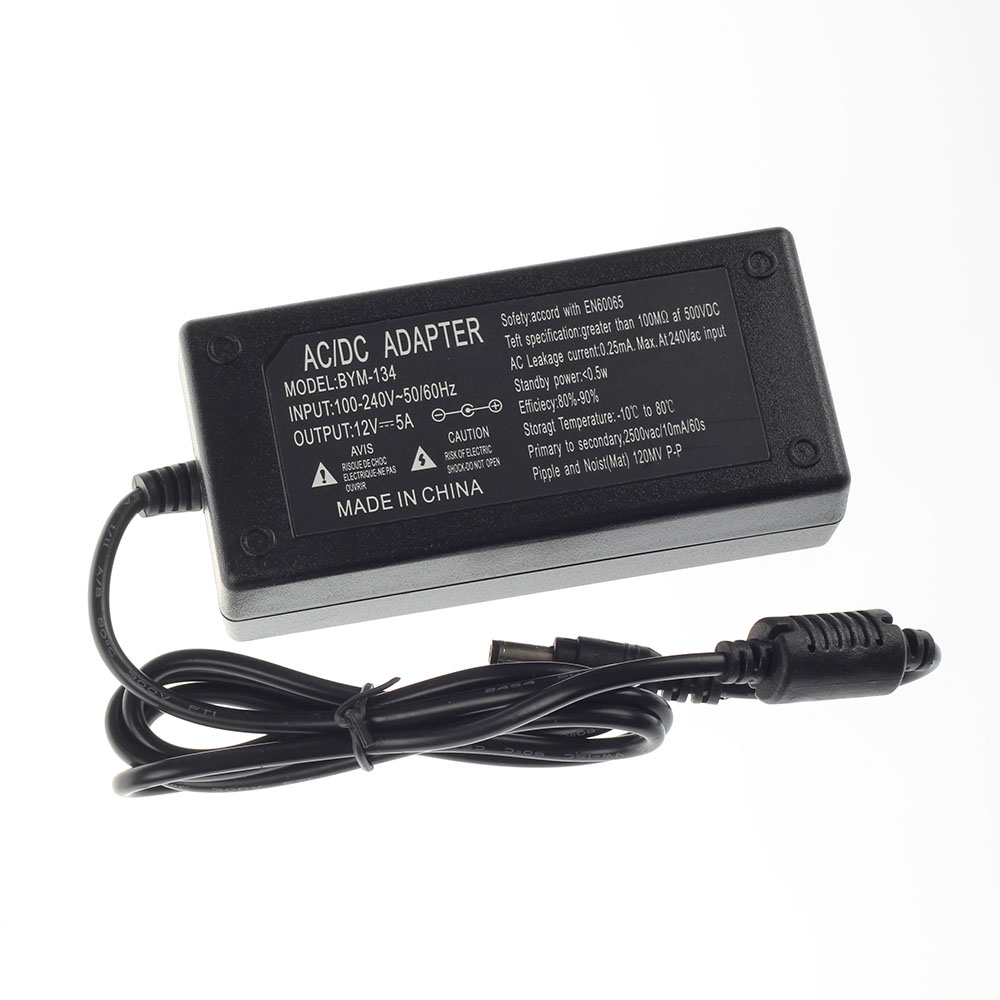 AC100-240V to DC 12V 5A Power Adapter for led strip LCD CCTV US/EU/AU/UK plug LED Driver Lighting transformer