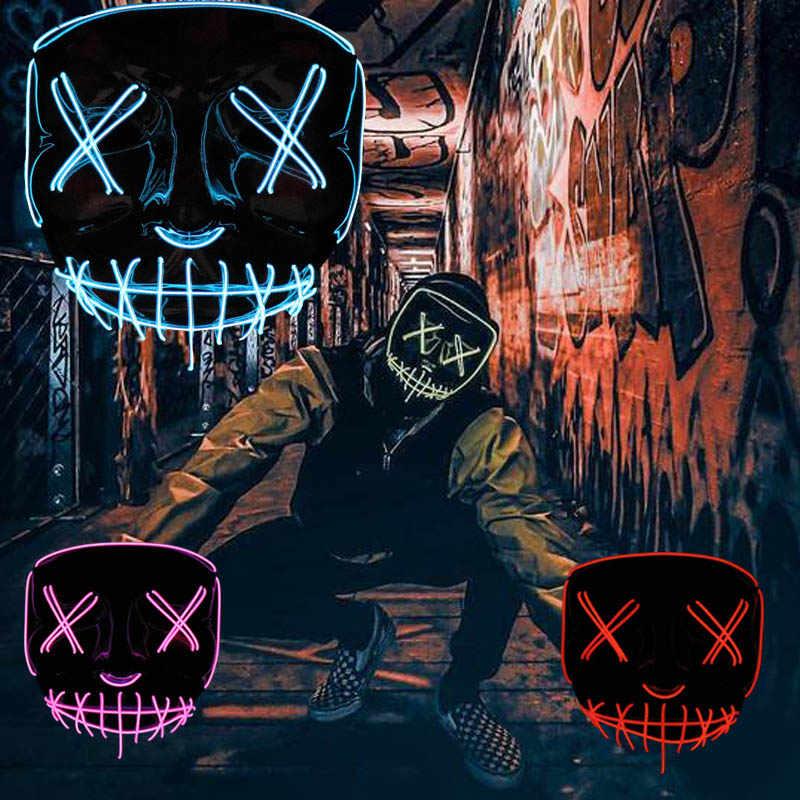 Neon LEVOU Mascara Máscara Máscara de Glow In The Dark Light Up Crânio Assustador Máscara Do Partido Festival Traje Cosplay Halloween Brithday presente