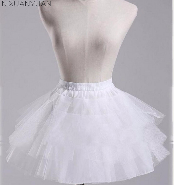 NIXUANYUAN White or Black Short Petticoats 2020 Women A Line 3 Layers Underskirt For Wedding Dress jupon cerceau mariage 5