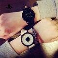 Hot mode creatieve horloges vrouwen mannen quartz-horloge BGG merk unieke wijzerplaat ontwerp minimalistische lovers 'horloge lederen horloges