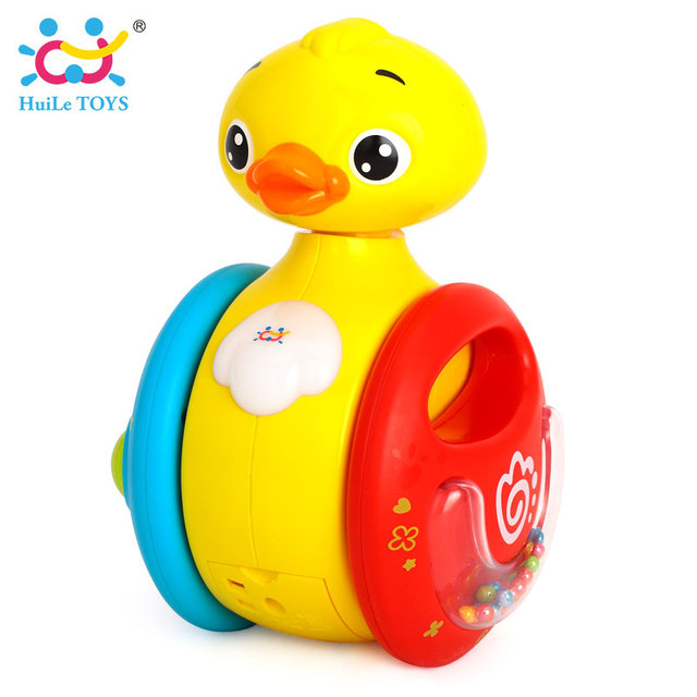 Huile toys YOYO duck roly-poly rolling baby toys electric music duck with sound kids rattles toys 0-18 months
