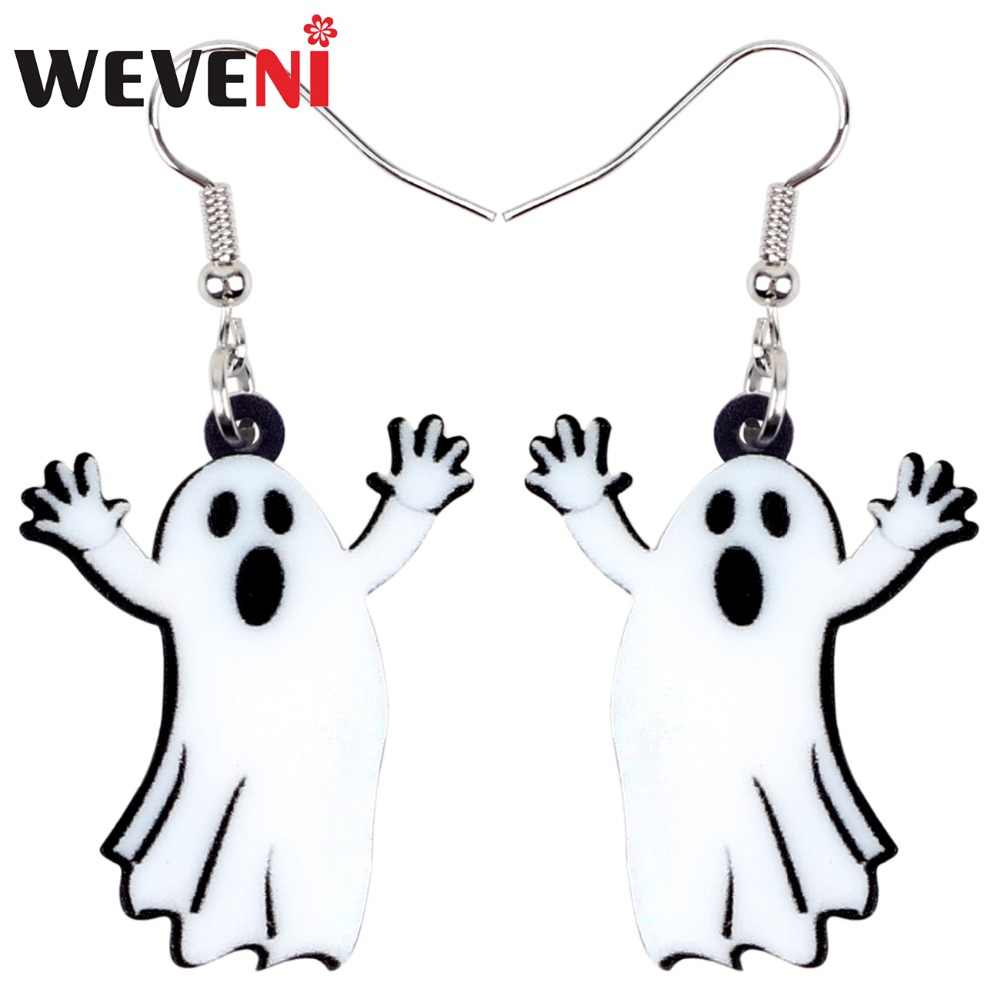 WEVENI Acrylic Halloween Cartoon Ghost Earrings Drop Dangle New Fashion Party Jewelry For Women Girls Teen Gift Wholesale Charms
