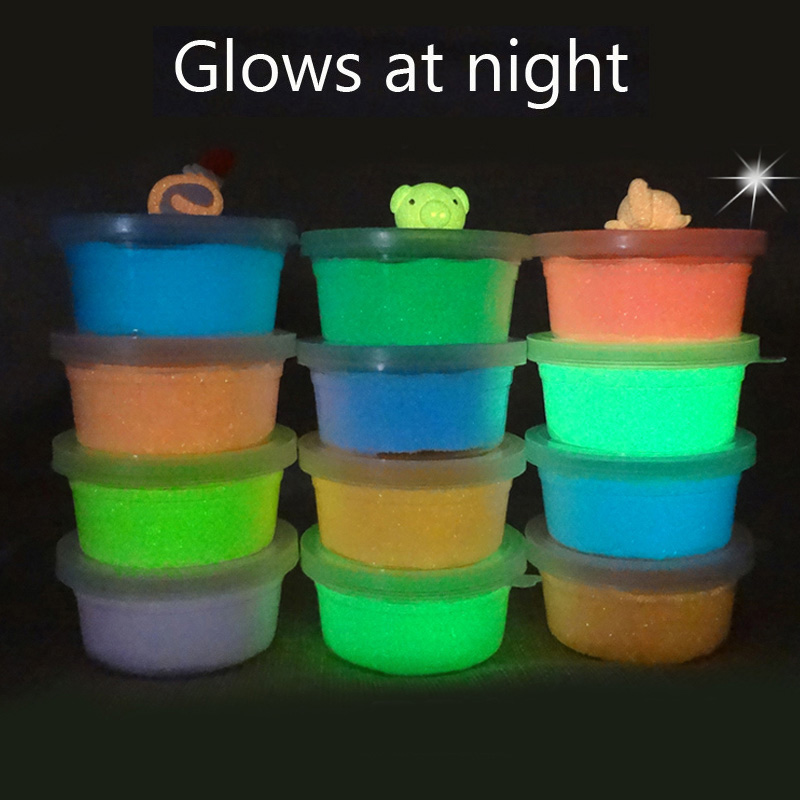 Kids Best Gift Glows At Night Light Polymer Clay Air Dry Children Soft Modeling Jumping Intelligent Plasticine Slime Toy