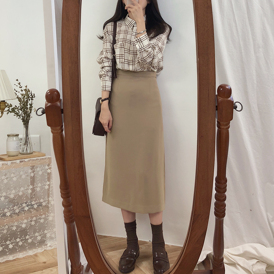 HTB1DOf1XsfrK1RkSmLyq6xGApXaK - Solid Black Brown Mid Calf Women Skirt Vintage Spring Summer Straight Skirt Long Office Lady High Waist Girls skirts Femininas