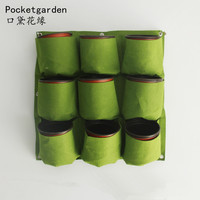 waterproof Vertical Gardening Hanging Wall Garden 9 Pockets Planting Bags Seedling Wall Planter Growing Bags with 9 plastic pot