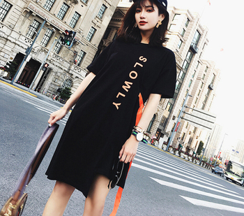 Maxi Long T Shirt Women Cotton Elastic T-shirts Female Oversize Casual Loose irregular Tops Letter Slogan Tee With Belt kids slogan print striped tee with jeans