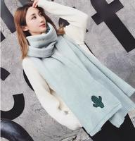 Korean Fashion Knit Scarves Cactus Embroidery Wool Autumn Winter Warm Students Collar Men Scarf Women Models