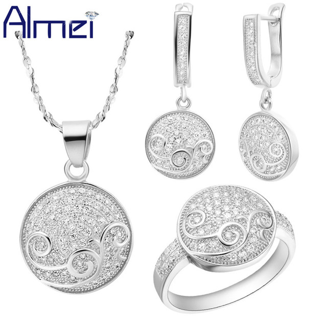 Almei Silver Jewelry Sets Fashion Austrian Crystal Brincos Colares Rings Zirconia Accessories for Wedding Women Party Gift T143