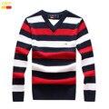 2017 conjuntos nova marca camisola de algodão de gola alta listrada com decote em v camisola de lazer do sexo masculino dinheiro 867 # TAMANHO: M-XXXL