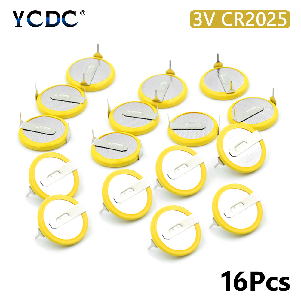 16Pcs/lot <font><b>Battery</b></font> <font><b>CR2025</b></font> 3V mounting pins/<font><b>tabs</b></font> single use 2 <font><b>Tabs</b></font> Coin Cell For Main Board Toy Electronic Scale image