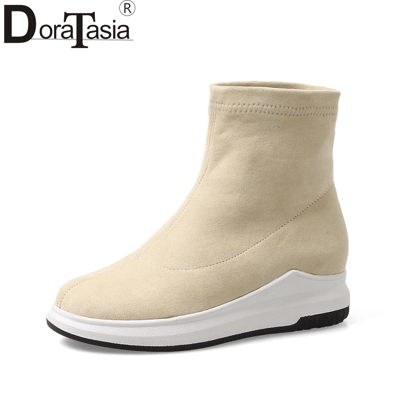 DoraTasia 2018 spring autumn big size 34-43 flock height increasing boots fashion comfortable shoes women casual shoes woman