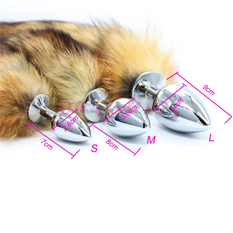 Sml Size Fox Tail Stainless Steel Butt Plug Anus Insert -6714