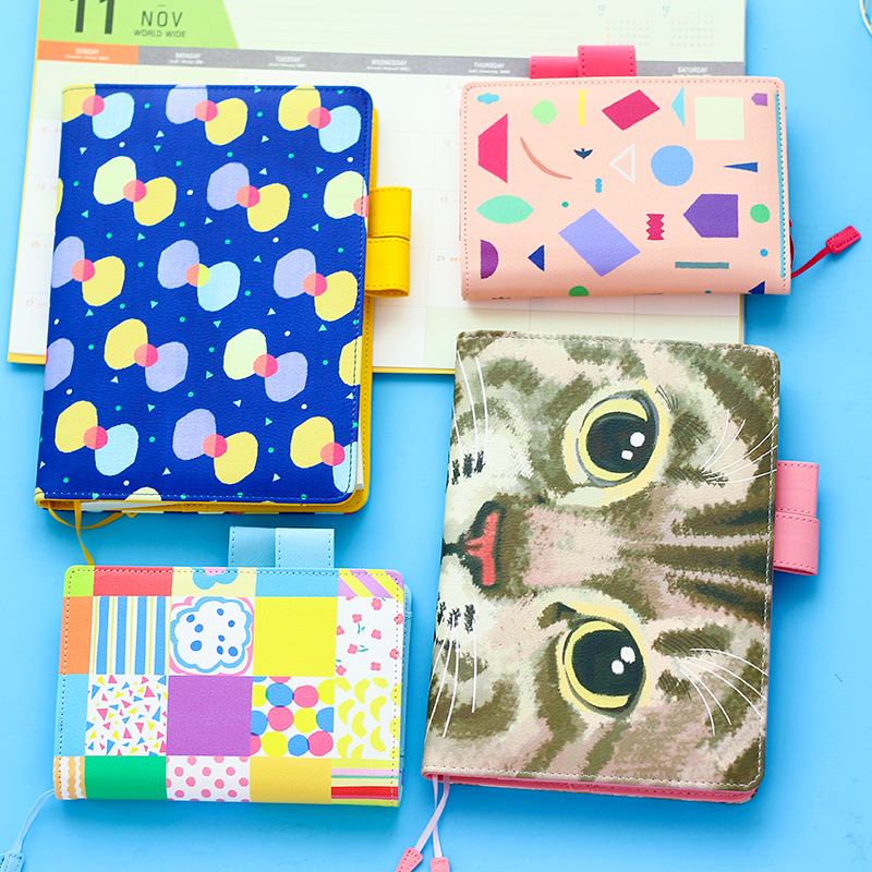 Fromthenon Japanese Leather Cover Notebook  Daily A5A6 Planner Organizer Monthly Weekly Plan Notebook Office & School Supplies fromthenon cat go home cute binder notebook kids dialy memos daily weekly planner organizer kawaii stationery school supplies