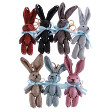 New Animal Cartoon Rabbit Pendant Keychain Handmade Fabric Key Chain Bag Pendants Adult For Women Girl Fashion Jewelry llaveros
