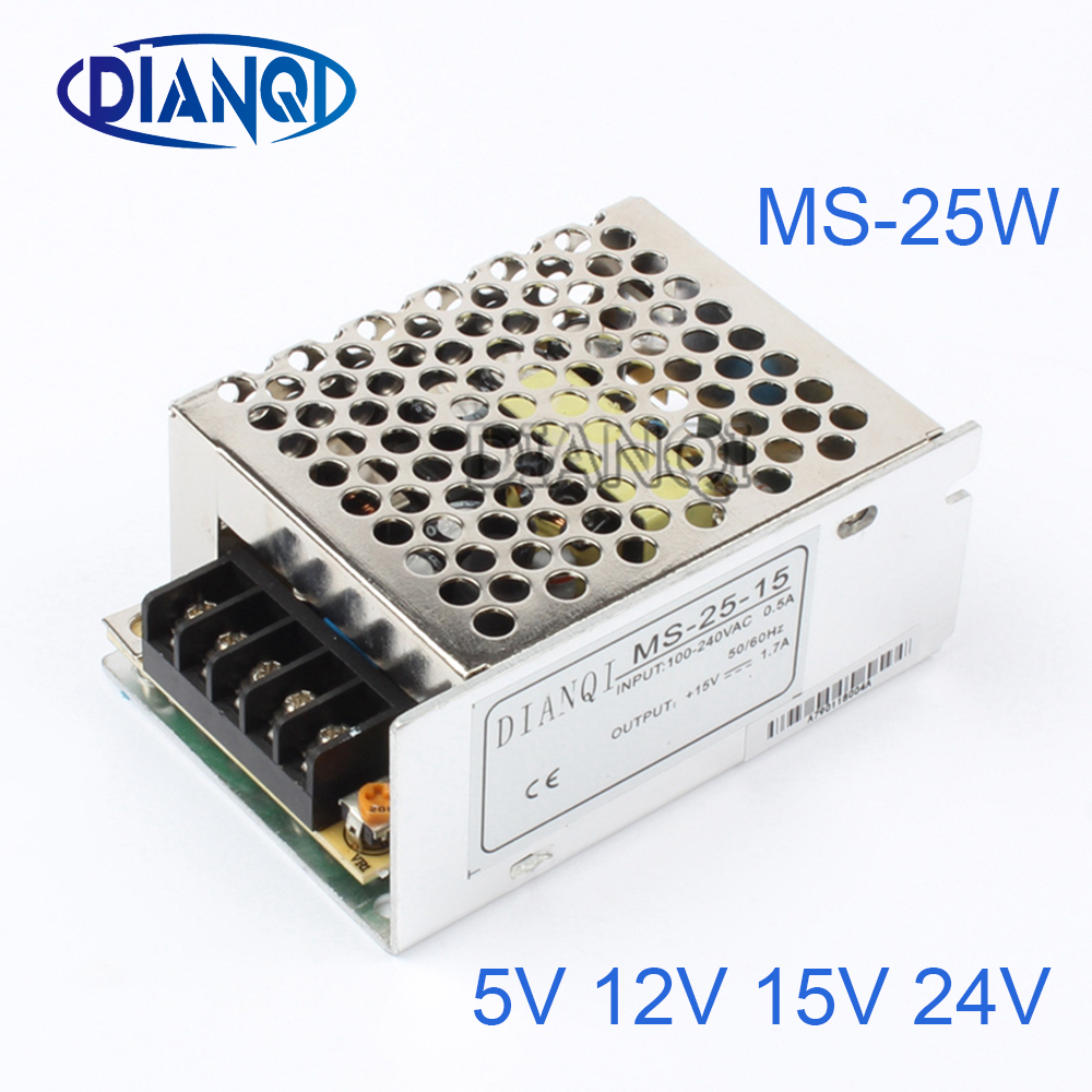 DIANQI Mini Size Switching Power Supply adjustable 12V Output voltage 25W ac to dc regulator ms-25 15V 5V 24V